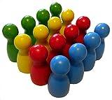 16 Halmakegel aus Holz, 40mm hoch, Bunte Spielfiguren, in 4 Farben