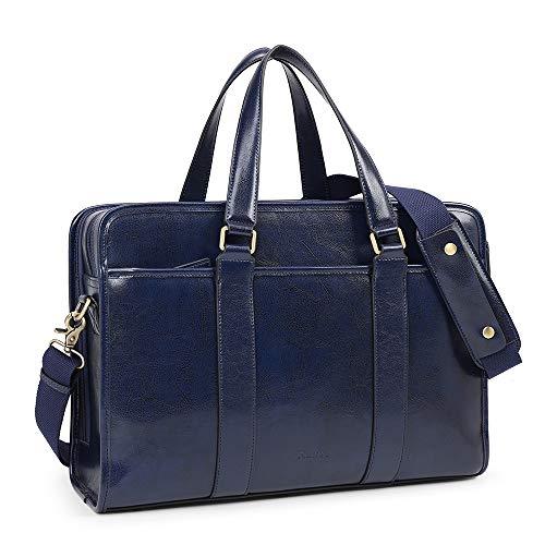 Kattee Aktentasche aus echtem Leder für Damen und Herren, 15,6 Zoll Laptop-Aktentasche, Kuriertasche, Schultertasche, Computertasche, Arbeitstasche, Blau - marineblau - Größe: Large
