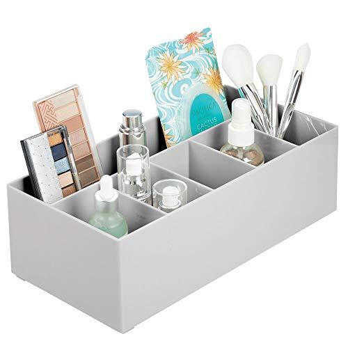 mDesign Organizador de cosméticos para el Lavabo o el tocador – Caja organizadora de plástico Libre de BPA para Guardar el Maquillaje – Moderna Cesta de baño con 6 Compartimentos – Gris