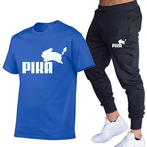 DREAMING-Camiseta de manga corta con cuello redondo de primavera y verano para hombre top + pantalones pantalones de cintura de dos piezas ropa deportiva informal delgada L