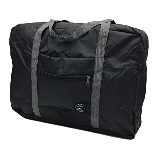 (DauStage) トラベル 軽量 ボストンバッグ コンパクト 折りたたみ式 ポケッタブルボストンバッグ 機内 持ち込み (09,ブラック)