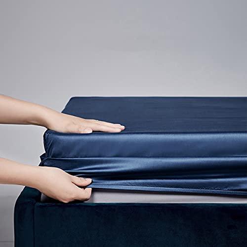 LINGBD Bedding - Protector De Colchón Acolchado Microfibra - Transpirable - Funda para Colchon Estira hasta,Azul,120 * 200 * 30