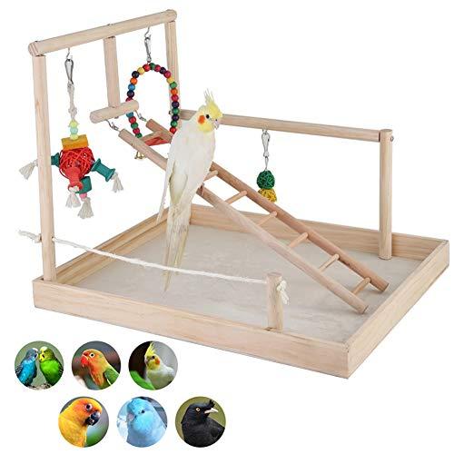 ZWW Vogelspeelstandaard, Houten Vogelkooi Rek Papegaai Speeltuin Speeltuin Fitnessbank met Speelgoed Swing & Ladder Geschikt voor Training Oefening