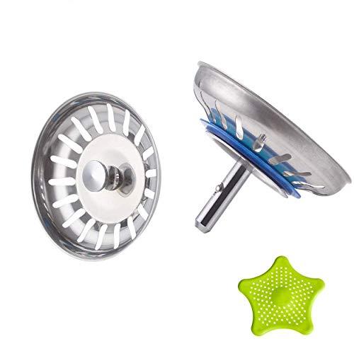 CompraFun Filtro per Lavello da Cucina, 2 Pezzi Acciaio Inox Filtro Lavello Scarico Cucina, Tappo Cestello per Lavabo Foro Colino, 3,5 inch(Ø 80 mm), con 1 Pezzi Filtro di Silicone