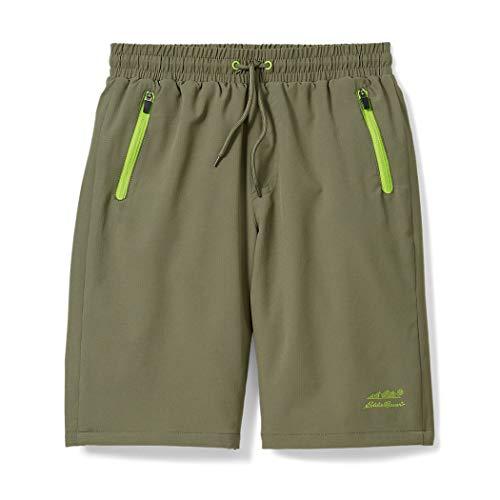 Eddie Bauer Quick Dry Boy's Shorts   UPF 50 Performance with Drawstring & Zipper Pockets, Dark Green, XS