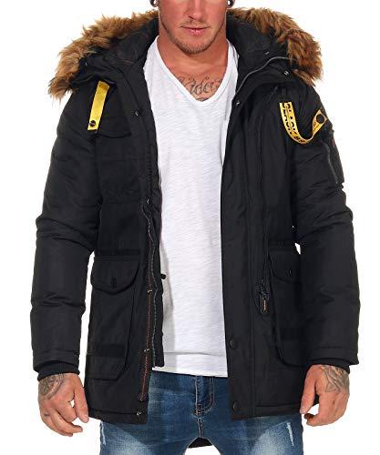 Poolman Herren Winterjacke P1804756 Parka mit Fell-Kapuze Black XL