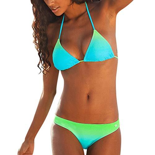 Bikini Set Damen IFOUNDYOU Bademode Damen Sexy Push Up Gepolsterte Triangle Oberteil Zum Schnüren Rückenfrei Trend Drucken Tanga Bunt Beachwear Schöne Badebekleidung