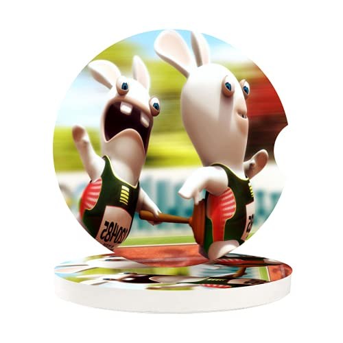 Rabbids Invasion Cup Holders Car Coasters for Women/Men - 2 Pcs Absorbent Ceramic Stone Drinks Coaster Set,Car Holder Coasters for Drinks Absorbent