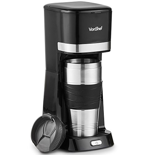 VonShef Single Serve Coffee Maker, 650W, One Cup Personal Filter Coffee Machine with 14 Ounce Travel Mug and Lid
