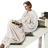Work from Home Wearable Blanket w/Back Snap Button, Sleeves and Kangaroo Pocket for Adult, Comfy Throws Wrap Robe Blanket, Great Gift for Man, Women, Father, Mother