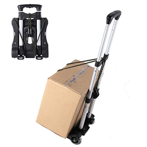 Luggage Cart Folding Compact Lightweight Portable Aluminum Alloy Luggage Carriers with Wheels Hand Truck with Bungee Cord(80LB) Black