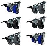 Ruote piroettanti per mobili rotelle Girevoli con Piastra per Carrelli arredamento Made in Italy (Nera Senza Freno, 50 mm)