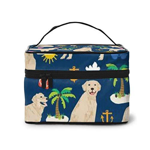 Navy Golden Retriever Travel Cosmetic Organizer Portable Artist Storage Bag, Multifunction Toiletry Bags