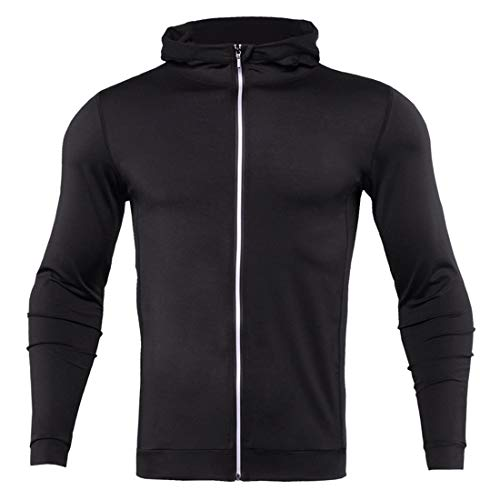 Men Tops Sports Leisure Comfortable, Lightweight, Quick-Drying Fitness Clothing Spring and Autumn Fashion Tight-Fitting Men'S Running Top Men'S Jacket Z-Black 1 XXL