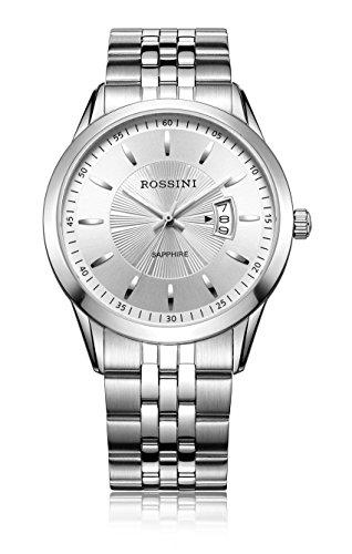 Rossini Edelstahl-Herren-Armbanduhr mit Quartzwerk silberfarbenem analogen Zifferblatt, Datumsanzeige und Edelstahl Armband-ROSGB020