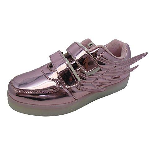 Bling-Bling Zapatillas LED – Zapatillas deportivas con siete suela luminosa, unisex, con conexión USB para cargar, para niños, tallas 30 – 36, color, talla 30 EU
