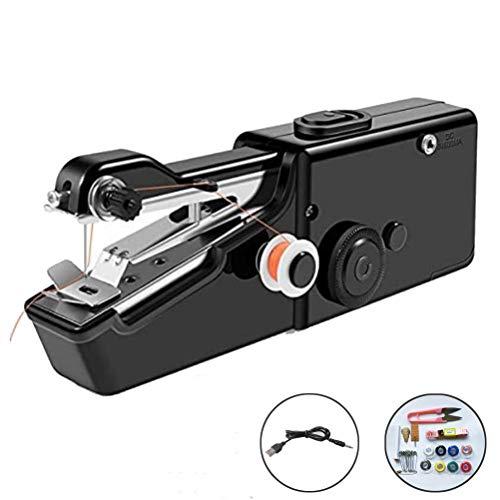 EEX Handnähmaschine Mini Handheld Nähmaschine Elektrische Handnähmaschine Schneller Handlicher Stich für DIY, Kleidung, Haushalt und Reisenutzung (Schwarz, Set 1)