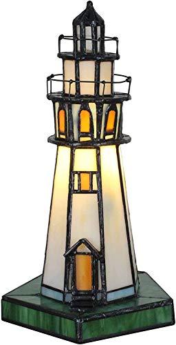 Tour De Lampe De Table De Style Tiffany, Vintage Créatif Style Tiffany Vitrail Nuit Lumière Enfants Petite Lampe De Bureau pour Chambre À La Main Vitrail Phare Nuit Éclairage De Table Lampe De Chevet
