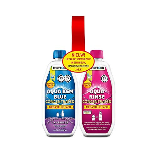 Thetford Unisex's Aqua Kem Toilet Fluid and Rinse Concentrate Duo Pack, Blue & Pink, 1.53 Litre