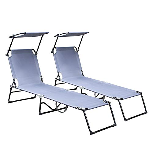 Hengda Sonnenliege klappbar 2 Stück, Gartenliege mit Sonnendach und Rückenlehne Verstellbar, Strandliege Anthrazit 189 x 55 x 27 cm, Freizeitliege atmungsaktiv, bis 110kg belastbar, Grau