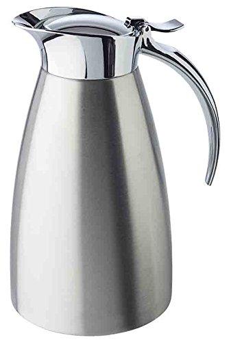 """APS Isolierkanne """"Advanced"""", Kaffeekanne für alle gängigen Kaffeeautomaten, Ø 10,5 cm, H: 18 cm, doppelwandiger Edelstahl, für heiße und kalte Getränke, spülmaschinengeeignet, 5 Tassen/0,6 Liter"""