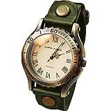 [リトルマジック] 腕時計 レディース メンズ 兼用 本革 ベルト 防水 アンティーク 風 金属アレルギー 対応 グリーン