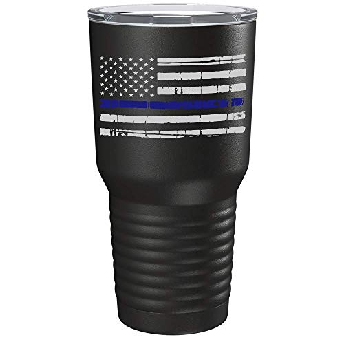 Thin Blue Line Distressed Flag 30 oz Stainless Steel Police Tumbler