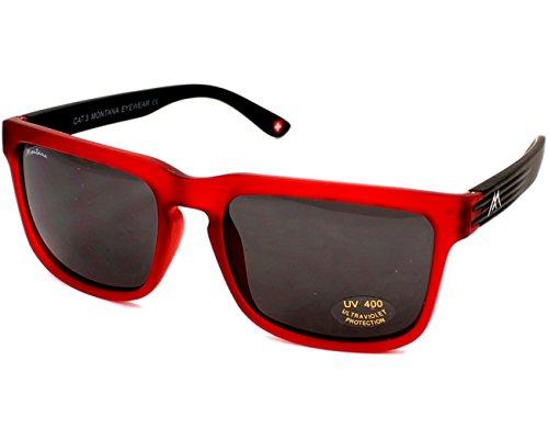 MONTANA S26 Gafas, Multicolor (Rojo/Lentes Humo), Talla única Unisex Adulto