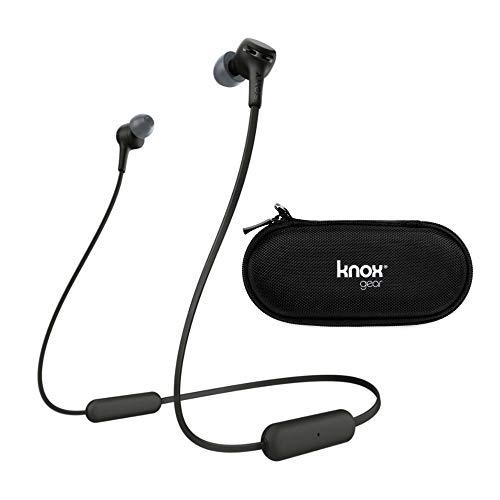 Sony WI-XB400 Extra Bass Wireless in-Ear Headphones (Black) with Knox Gear Hardshell Earphone Case Bundle (2 Items)