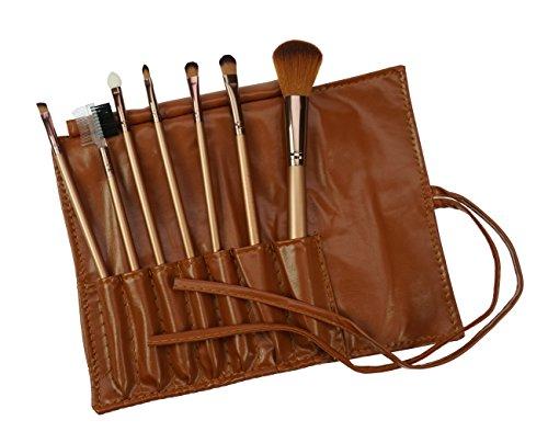 Fantasia Lot de 7 pinceaux de maquillage professionnels végétaliens avec 7 outils et poils synthétiques Doré
