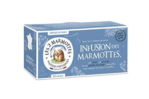 Les 2 Marmottes Infusion des Marmottes - Tilleul, menthe poivree, fleur d'hibiscus - Bien-Être et Relaxation - Pour le soir - 30 Sachets par boite - Made in France
