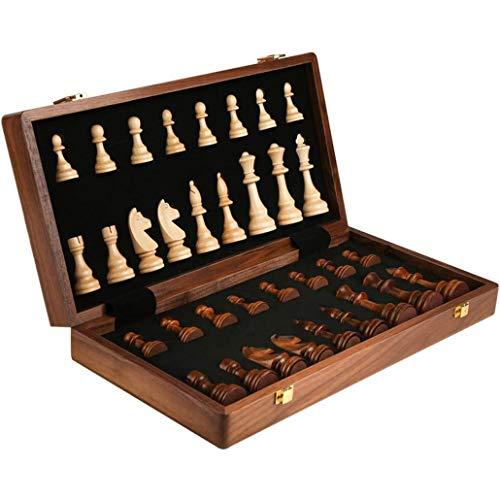 Life Accessories Juego de ajedrez de madera maciza Tablero plegable portátil Juego de ajedrez Regalos y juegos de mesa para adultos y niños Desarrollo del entretenimiento intelectual Reuniones famil