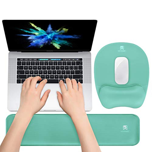 Keyboard Wrist Rest Mouse Pad Wrist Support for Computer Desktop/Laptop/Notebook Memory Foam Keyboard Pad Ergonomic Hand Rest Wrist Cushion for Home Office Gaming Easy Typing Pain Relief-Green