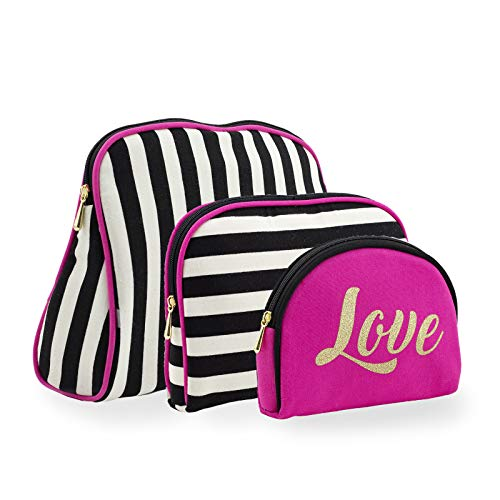 Once Upon A Rose 3 Pc Cosmetic Bag Set, Purse Size Makeup Bag for Women, Toiletry Travel Bag, Makeup Organizer, Cosmetic Bag for Girls Zippered Pouch Set, Large, Medium, Small (Love & Stripes)