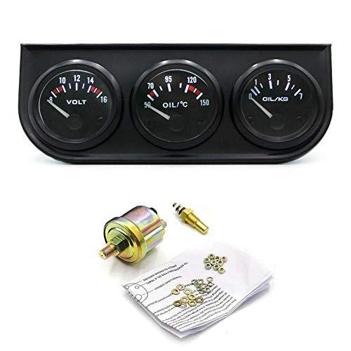 HOTEU 52mm elektronisches Dreifachmessgerät Kit Öldruck Wassertemperaturanzeige Voltmeter 3 in 1 Auto Motorradzähler Zubehör