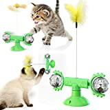 USWT Cat Toy Kitten Toys Cats Supplies Interactive Turntable Teasing Stick with Feather and Suction Cup Funny Catnip Spinning Ball for Indoor Cats