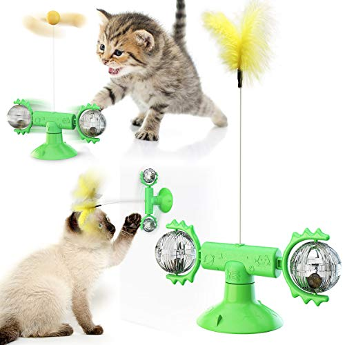 Juguete interactivo para gatos, mesa giratoria para gatos para interiores, juguete para gatos con ventosa, divertido juguete de plumas para gatos con plumas naturales (verde)
