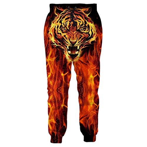 Gengemter Pantalones Informales con Estampado 3D de Tigre en el Fuego