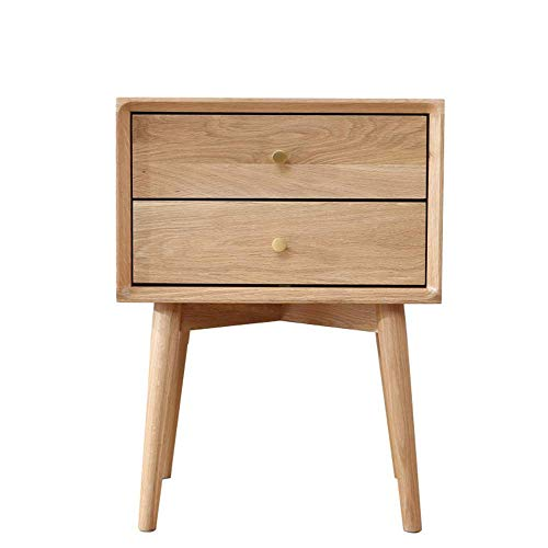 N&O Renovation House White Oak Bedroom Furniture Storage Cabinet Green Two Drawers Pure Solid Wood Bedside Table