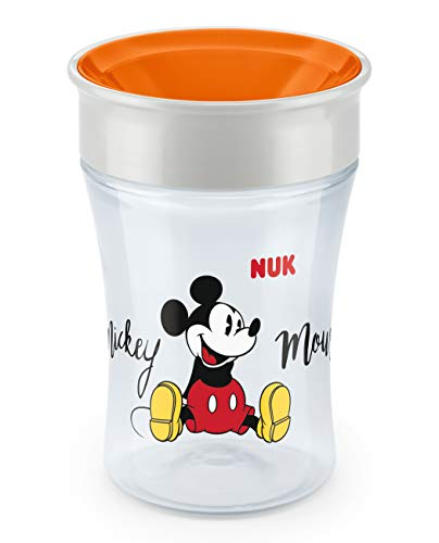 NUK Magic Cup Trinklernbecher, 360° Trinkrand, auslaufsicher abdichtende Silikonscheibe, 230ml, 8+ Monate, BPA-frei, Mickey Mouse Edition, orange
