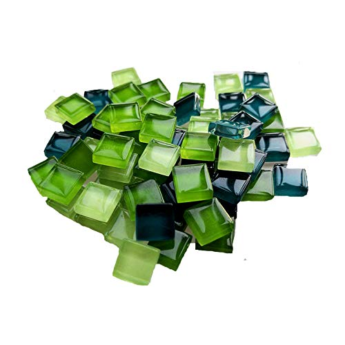 100 Pieces Bulk Mosaic Tiles Assorted Color Opaque Mosaic Glass Crafts Supplies for DIY Picture Coaster Home Mosaic Decoration(1x1cm,Green Series)