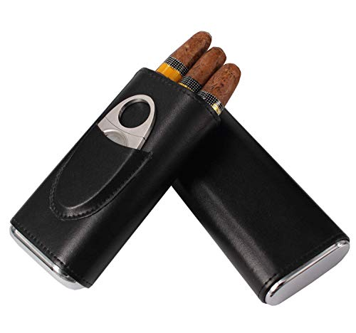 AMANCY Classic Black Leather 3 Fingers Cigar Case with Cedar Wood Lining,Silver Stainless Steel Cutter Contained