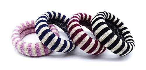 onweerstaanbaar1 Pack van 4 Hoge Kwaliteit Soft Touch Italiaanse Gemaakt Gestreepte Jersey Haarbanden Donut Snag Gratis Elastiek In Rood, Blauw, Roze En Zwart 5 cm Diameter 1,5 cm Breed