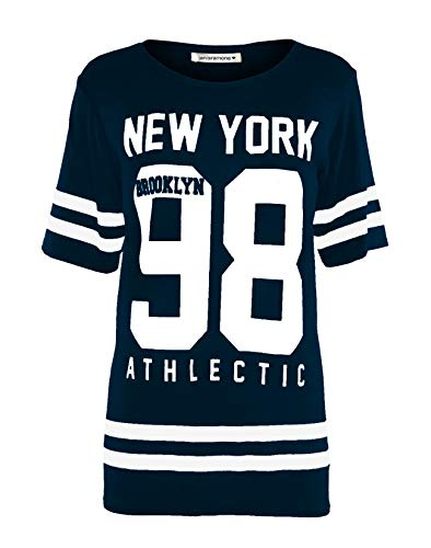 Janisramone Frauen Damen Neu Baseball New York 98 Brooklyn Gestreifte Print überdimensional Ausgebeult T-Shirt Top