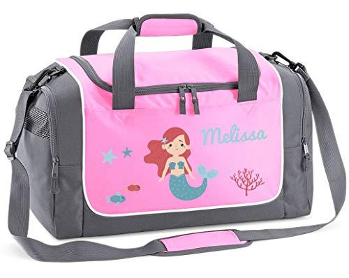 Mein Zwergenland Sporttasche Kinder personalisierbar 38L, Kindersporttasche mit Name und Meerjungfrau Bedruckt in Rosa