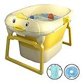 YRYP Badewanne,Vertikaler Großer Raum Folding Baby Badewanne mit Abnehmbarem Badehocker und Duschkartensteckplatz für Kleinkinder Kinder im Alter Von 0-15 Jahren