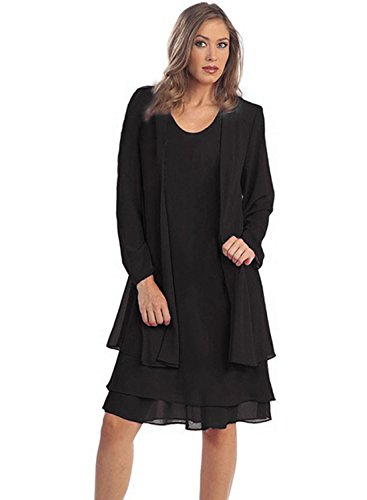 IHOT Women 2 Pcs Set Chiffon Jacket Dress Mother of Bride Dresses Black