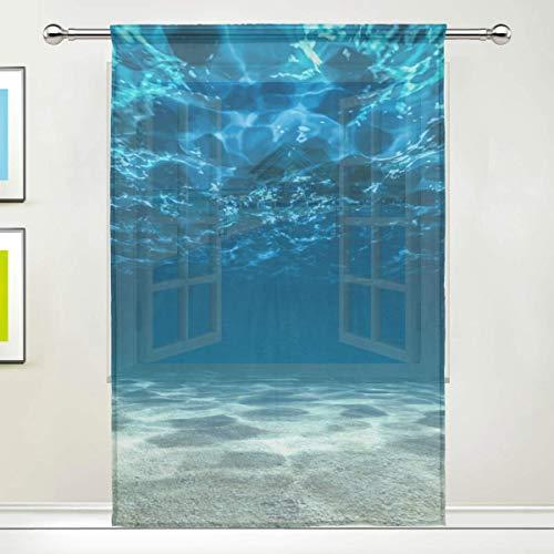 Fondo oceanico e Superficie Asta Subacquea Tasche Trasparenti Voile per Finestra Pannelli per Tende per Camera da Letto e Soggiorno 55x78 Pollici 1 Pezzo