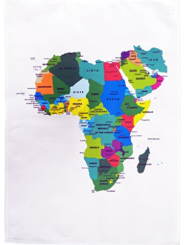 Half a Donkey Colourful Countries of Africa Map - Large Cotton Tea Towel