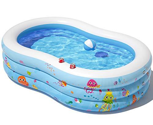 Peradix Aufblasbare Pool, 240 x 150 x 60 cm Groß Familienpool, Schwimmbecken Planschbecken, Schwimmbad mit Ball und Cupholder für Kinder,Erwachsene, Outdoor, Garten-Leicht aufbaubar